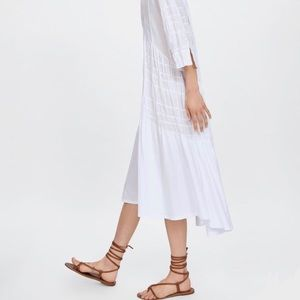 ZARA White Gathered Midi Dress